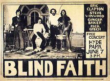 ERIC CLAPTON BLIND FAITH REPRO 1969 HYDE PARK 7 JUNE CONCERT POSTER . NOT CD DVD