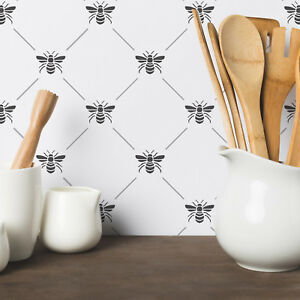 Bee Lattice Pattern Wall Stencil - Large DIY Home Decor Bees Pattern Stencil