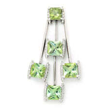 Peridot Dangle Drop Pendant with Diamonds 14K White Gold 7.25ctw