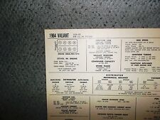 1964 Plymouth Valiant EIGHT Series VV2 Models 273 CI V8 Tune Up Chart