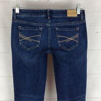 Aeropostale Ashley womens size 0 stretch blue faded dark wash ultra skinny jeans