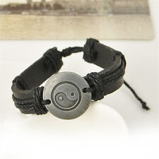 Vintage Men Yin and yang Wrap Leather Infinity Charm Bracelet Retro Jewelry Gift