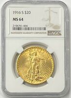 1916-S $20 Saint Gaudens Gold Double Eagle Pre-33 NGC MS64 Amazing Look In Hand