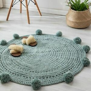 Round Room Rug Nordic Carpet Around 90x90cm Solid Yarn For Knitting Rug Bedroom