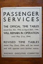 1944 Passenger Services Timetable WW2 Original Railway Executive Poster