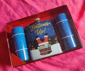 Bottoms Up Christmas Flask And 2 Shot Glasses NEW