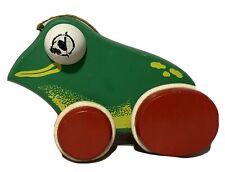 Vintage Wood Wooden German ? Pull Nursery Toy Green Frog Toad Ribbit Noise