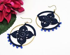 Feminine! Goldtone Dark Blue Beads & Crocheted Flower Pierced Dangle Earrings!