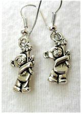 Dangle earrings - Tibetan silver style bear + flower