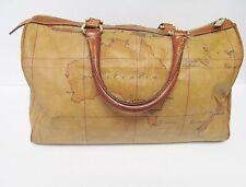 "Alviero Martini Prima Classe Satchel Hand Bag Purse Duffel Map Print 13""x8""x6"""