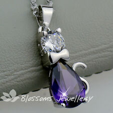 925 Sterling SILVER Amethyst Purple Kitty NECKLACE with SWAROVSKI CRYSTAL S1029