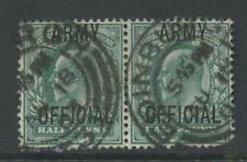 GB OFFICIAL ARMY KE7 1/2d PAIR...EDINBURGH CODE 31