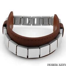 """DYRBERG/KERN of DENMARK! Bracelet Made of StSl & Brown Leather 9"""""""