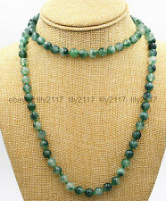 36 inch Long Genuine Natural 6mm Vintage Emerald Graduated Beads Gems Necklace