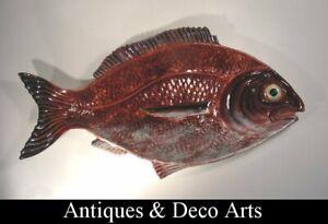 Giant Bordalo Pinheiro Caldas Da Rainha Portugal Ceramic Fish Plate 56cm!