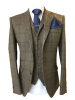 MENS WOOL BLEND TWEED BROWN SLIM FIT JACKET/BLAZER & WAISTCOAT - SOLD SEPARATELY