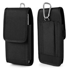 Black Nylon Vertical Holster Belt Pouch Case for iPhone 7 Plus / LG Stylo 2 / 5X