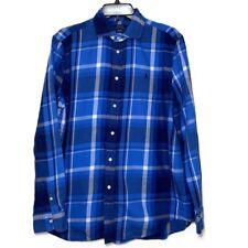 Ralph Lauren Boy 14 Plaid Check Long Sleeve Button Down Shirt Blue Relaxed Fit