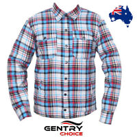 Motorcycle Riding Cotton Shirt Lined with Kevlar® Aramid Blue Check Comfort Fit