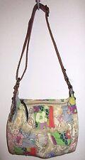 Nice Fossil Floral Canvas Faux Leather Trim Medium Crossbody Bag Purse Handbag