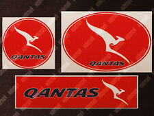 3x DIECUT QANTAS LOGO STICKERS / DECALS 1 ROUND 1 OVAL 1 RECTANGULAR