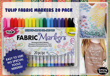Tulip Permanent Fabric Markers - 20 colors -TShirts Bags Craft Shoes - FREE POST
