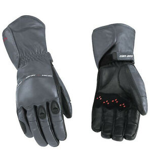 Can-Am OEM, Large Branded Grey Spyder Leather Riding Gloves, 4461770907