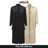 New Womens Ladies Longline Crepe Kimino Duster Coat UK