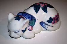 """Large 8.5"""" Porcelain FLORAL KITTY CAT FIGURE Statue SLEEPING Blue GREEN Pink"""