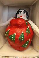 "Art Whimsical OOAK Handmade Snowlady ""Christmas Tree Dancer"" Paper Mache Art"