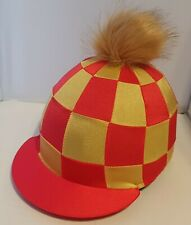 RIDING HAT COVER - RED & GOLD CHECKS & GOLD FAUX FUR POMPOM