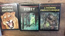 Lot 3 livres encyclopédie illustrée de la forêt Monde animal l'homme préhistoriq