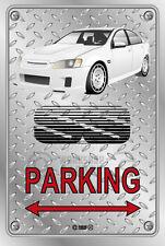 Parking Sign Metal VE-retro VK Commodore White Aeros - Checkerplate Look