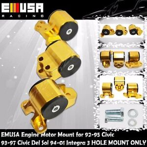 EMUSA Billet Engine 3 Hole Mount Kit fit  92-00 Civic 93-97 Civic Del Sol GOLD