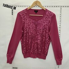 Talbots Cardigan Sweater Womens M Pink Sequined Embellished Silk Blend
