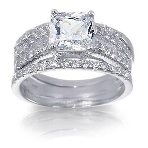 White Gold Sterling Silver Princess Cut 5.12ct Diamond Engagement Ring Set