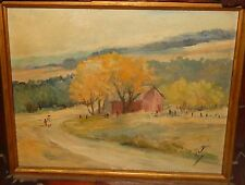 """JESSIE F.WALBURG """"ORCHARD PARK N.Y"""" ORIGINAL OIL ON BOARD PAINTING DATED 1966"""