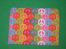 """""""PEACE SYMBOLS""""-Cloth Zipper Pouch-Make Up Bag-Stash Bag-Handmade"""