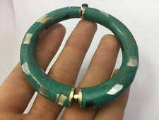 Nepal Tibetan Natural Turquoise with Shell Bangle Bracelet 92.5 Sterling Silver