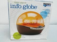 DISCOVERY CHANNEL INFO GLOBE CALLER ID CLOCK ORANGE INSTRUCTIONS BOX WORKS