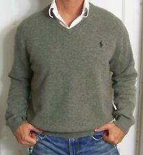 mens - POLO RALPH LAUREN sweater - XL - V-NECK - WOOL - Navy Blue & Yellow Label