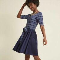 Fervour Modcloth A Line Dress In the Very Near Twofer Blue M Blue Plaid