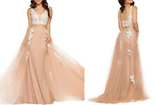 Champagne Two Pieces Prom Dress with Lace Formal Evening Gown Robe de Soirée
