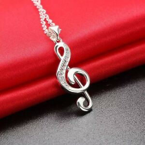 """925 Sterling Silver Music Note G Clef Cubic CZ Pendant Necklace 18"""" N139"""