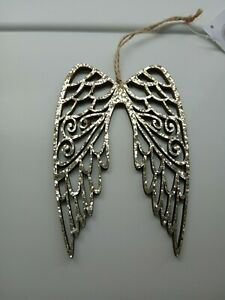 Gold angel wings christmas hanging decoration