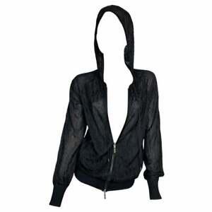 S/S 2005 Christian Dior John Galliano Logo Monogram Sheer Black Hoodie Jacket