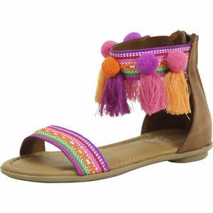 Mia Kids Little/Big Girl's Suri Wheat Nova Suede Pom Pom Sandals Shoes
