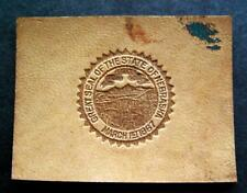 """Vintage Great Seal of the State of Nebraska 1910s Leather Patch 2 1/2"""" by 2"""""""