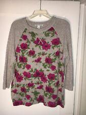 Autumn Cashmere Gray Cashmere Floral 3/4 Sleeve Cashmere Sweater Size M