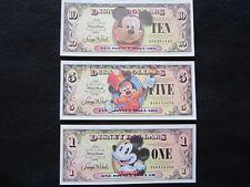 MINT 2008 Disney Dollar $ 1, 5, 10 dollars Set 80th Anniversary Micky Mouse, UNC